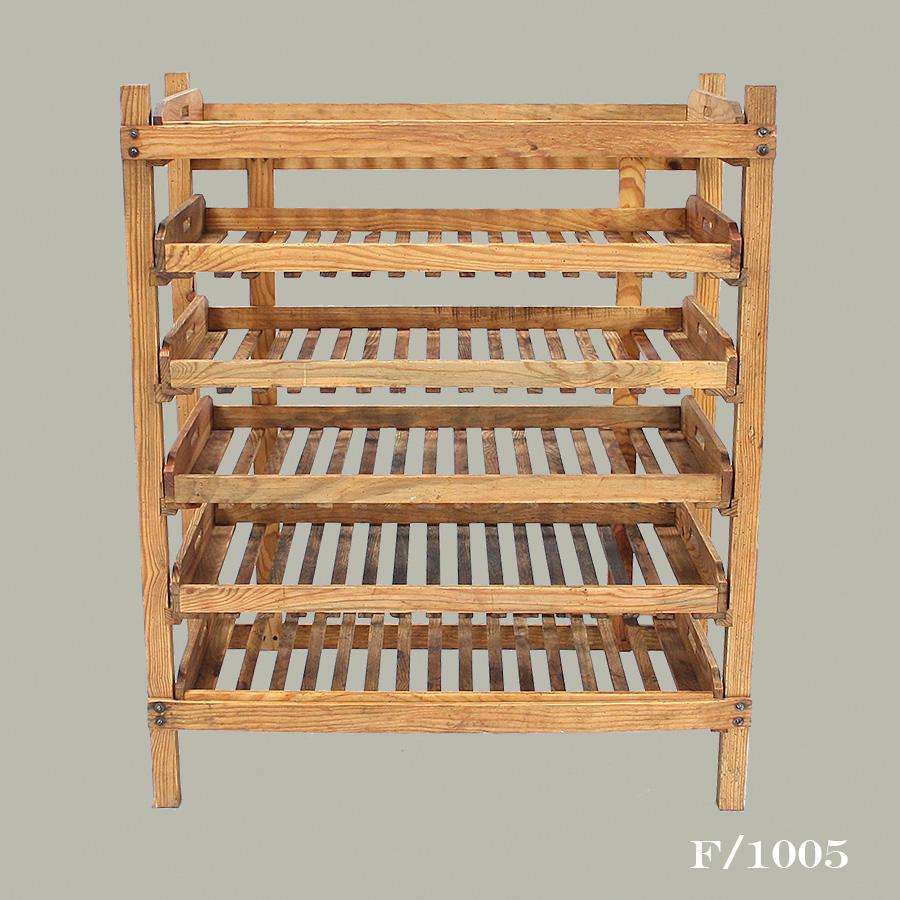 vintage wooden bakers rack