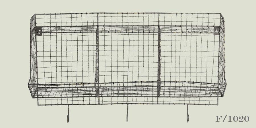 distressed wire storage shelf unit