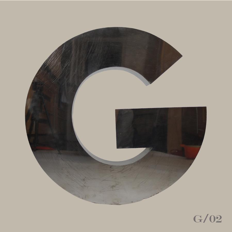 vintage metal stainless steel letter G