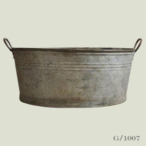 Large Round Vintage Zinc Planter Zinc