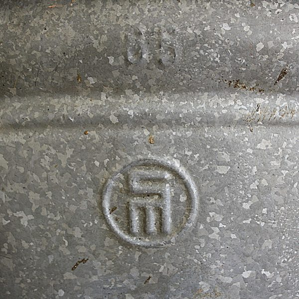 vintage galvanised zinc oval planter storeage