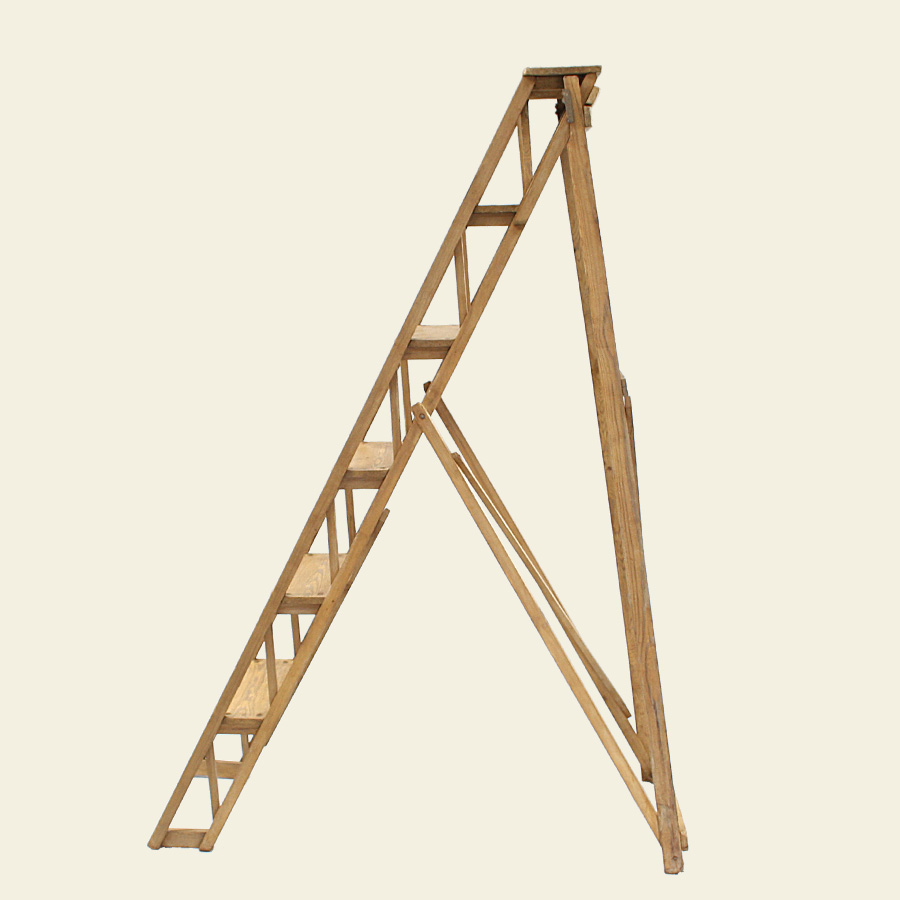 U1001-Vintage-Wooden-Pine-Ladder-Lattistep_3
