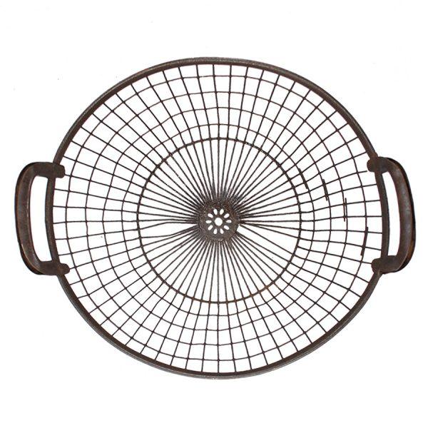 vintage round wire oyster storage basket