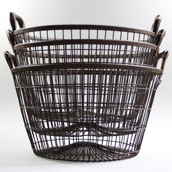 vintage round wire oyster basket storage