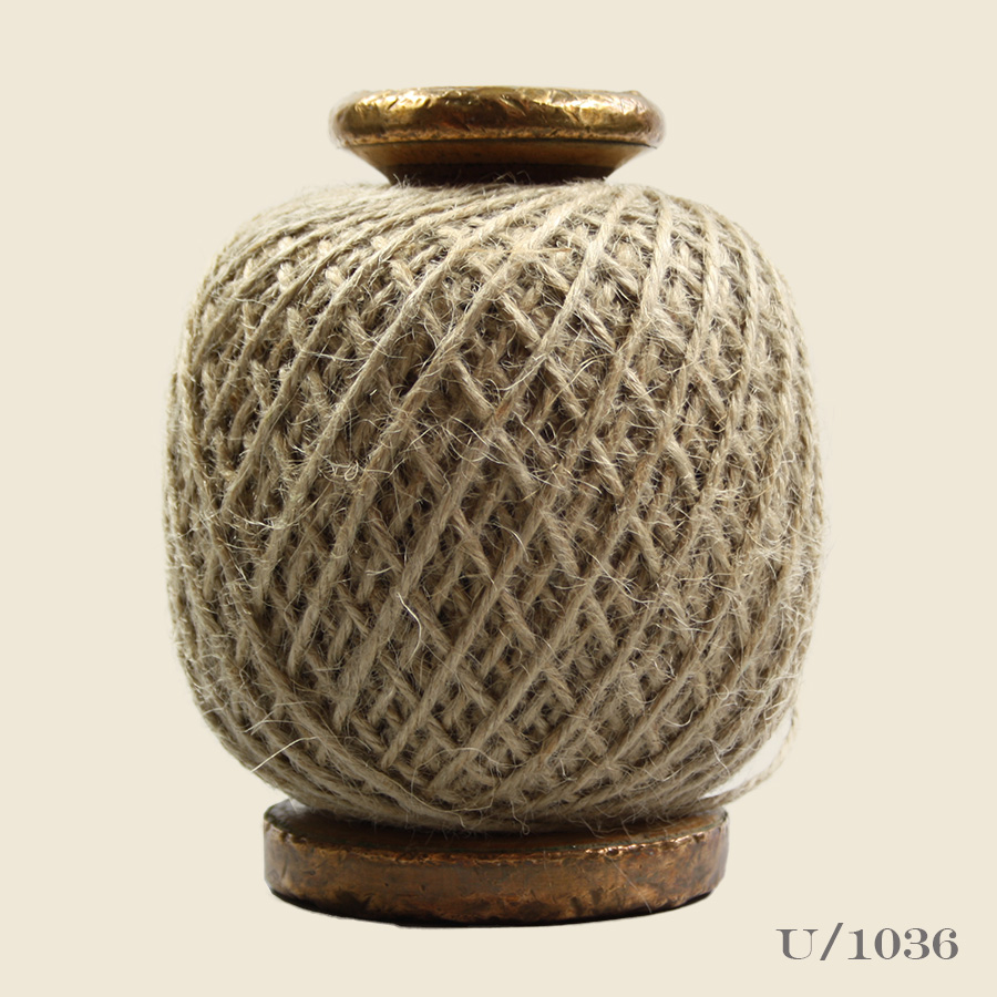 vibntage wooden bobbinb with natural jute twine