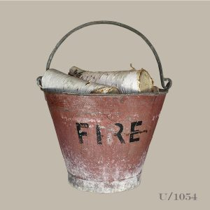 vintage red fire bucket