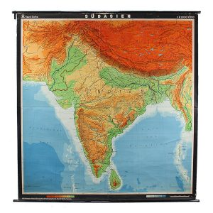 vintage giant wall map of india