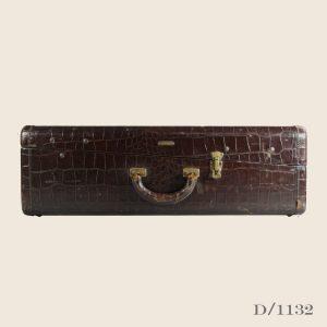 Large vintage leather trunk dark brown luggage storage