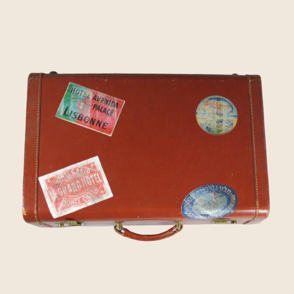 Vintage hard leather suitcase storage luggage