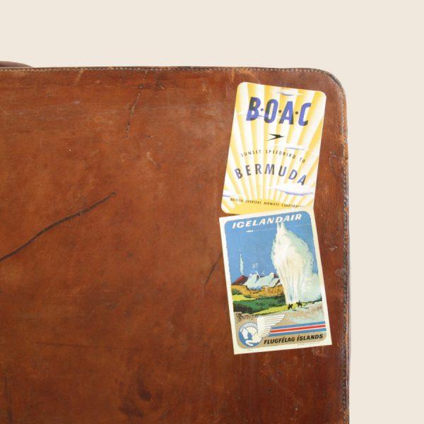 Large Vintage Leather Suitcase Luggage Storage