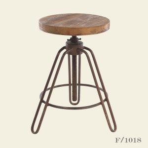 Adjustable Stool Wood Iron
