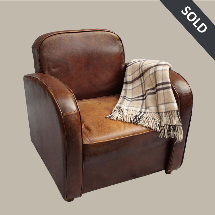 vintage club leather armchair