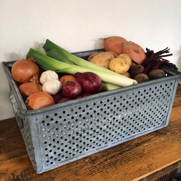 Vintage Zinc Storage Basket Kitchen Vegetables