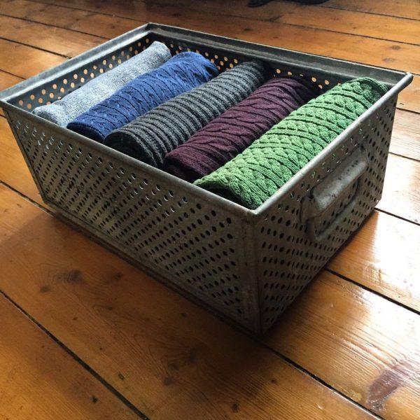 Vintage Zinc Storage Basket Bedroom Clothes Shoes