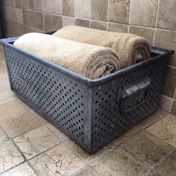 Vintage Zinc Storage Basket Bathroom Towels