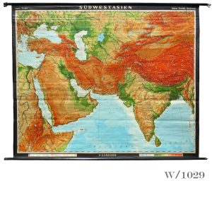 vintage wall map of sw asia