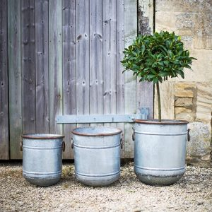 Set of 3 Garden Planters Galvanised