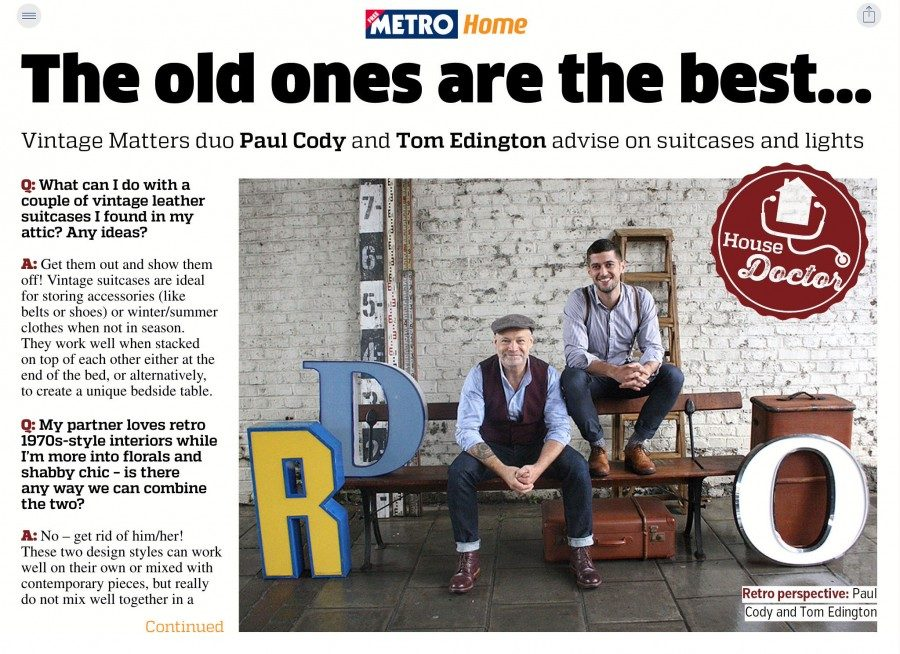 Vintage Matters feature in The Metro