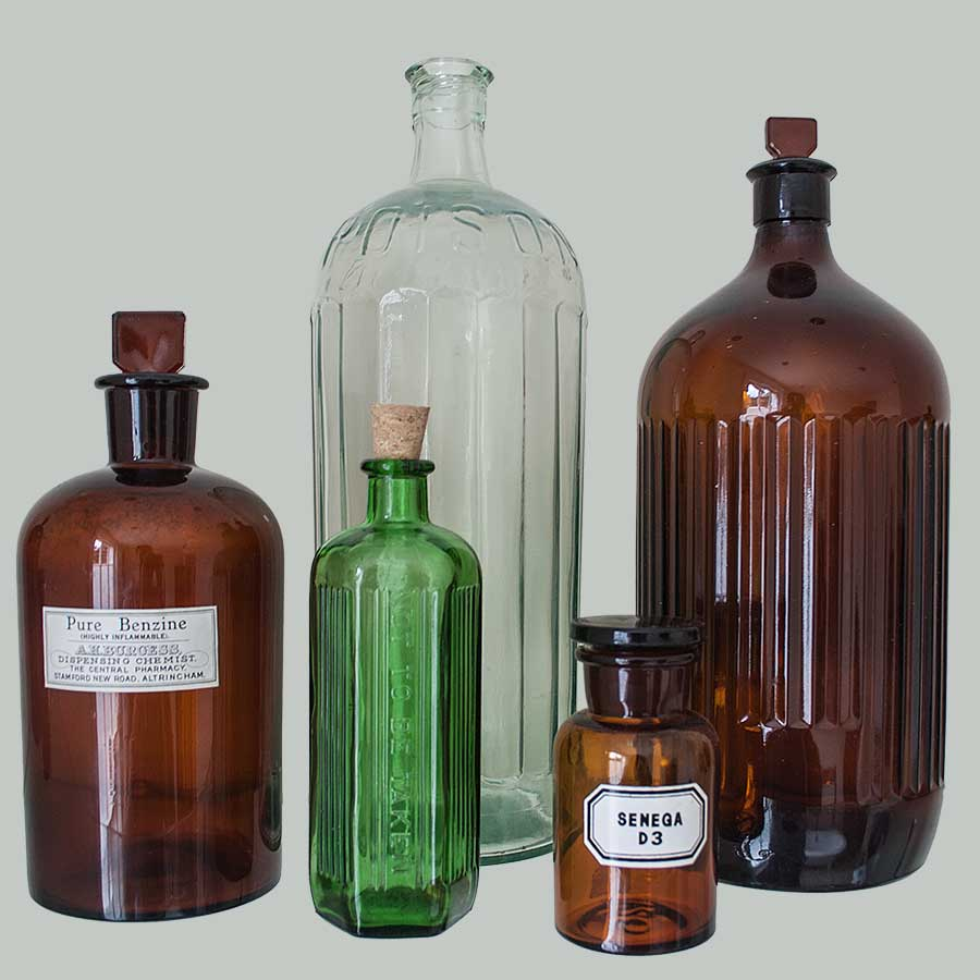 Assorted Vintage Glass Apothecary Bottles