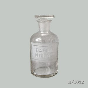 vintage etched glass apothecary bottle BARIUM NITRATE