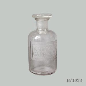 vintage etched glass apothecary bottle AMMONIUM CARBONATE