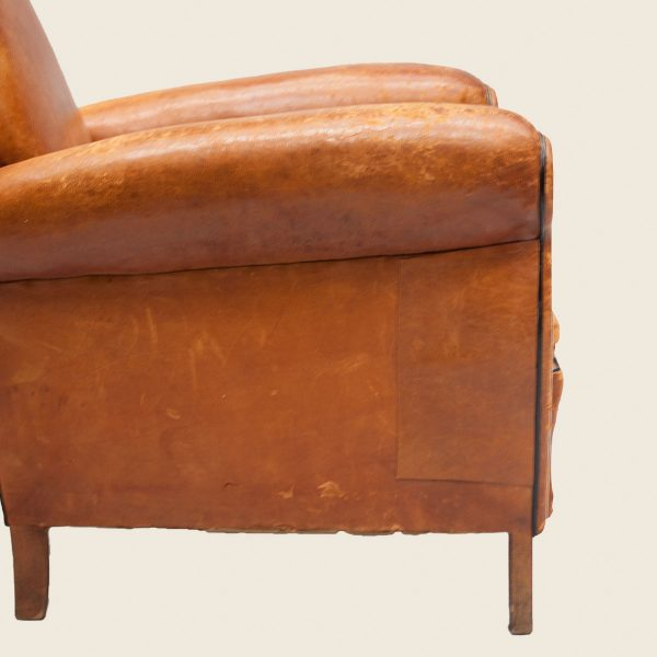 Vintage French Leather Club Armchair