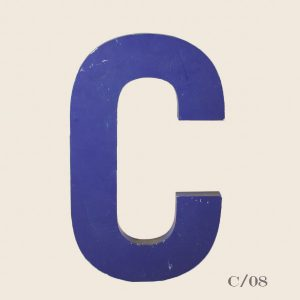 Vintage Blue Metal Letter C