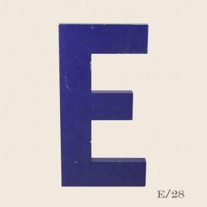 Vintage Blue Metal Letter E