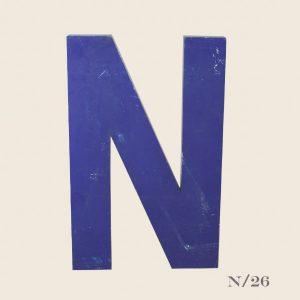 Vintage Blue Metal Letter N