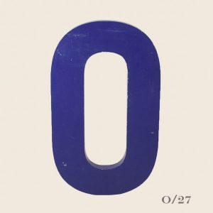 Vintage Blue Metal Letter O