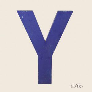 Vintage Blue Metal Letter Y