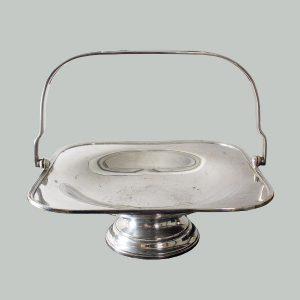 Vintage Silverplate Square Footed Basket