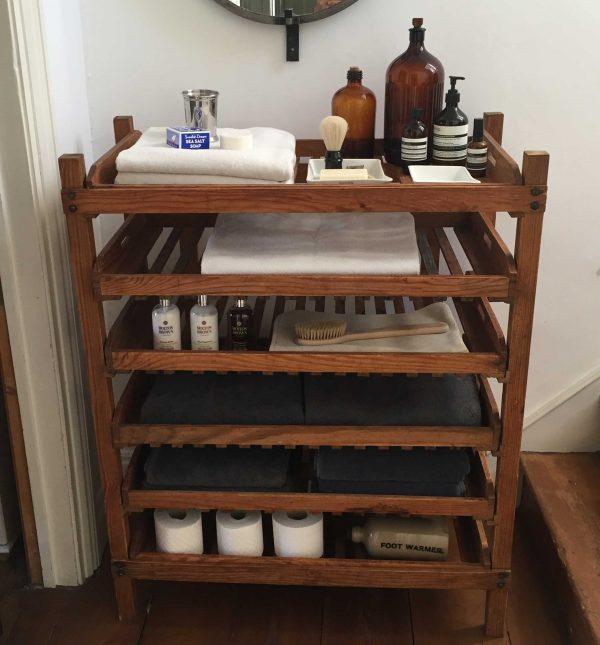 Vintage Wooden Bakers Rack Versatile Storage Solution Bathroom