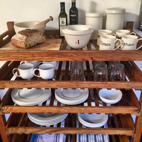 Vintage Wooden Bakers Rack Versatile Storage Solution Kitchen