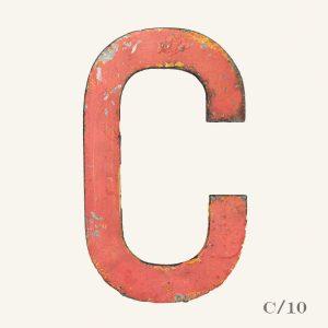 Vintage Reclaimed Pink Metal Letter C