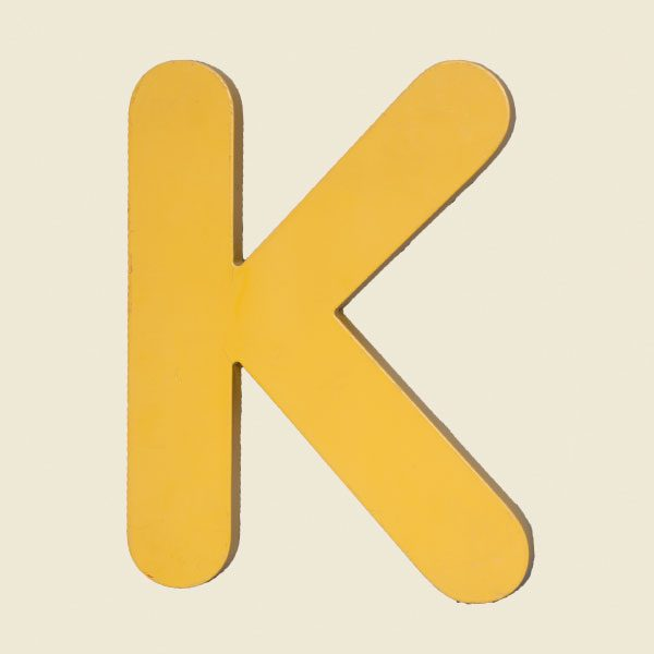 Reclaimed Yellow Resin Letter K