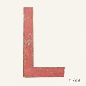 Vintage Reclaimed Pink Metal Letter L