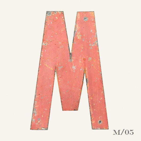 Vintage Reclaimed Pink Metal Letter M