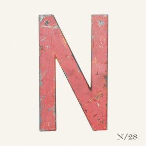 Vintage Reclaimed Pink Metal Letter N