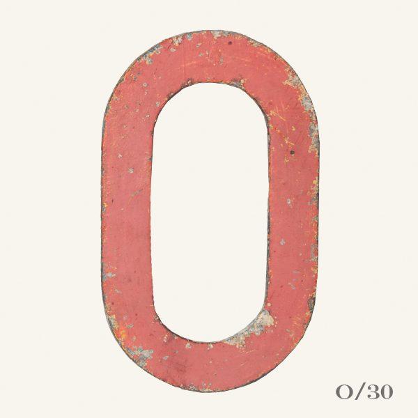 Vintage Reclaimed Pink Metal Letter O