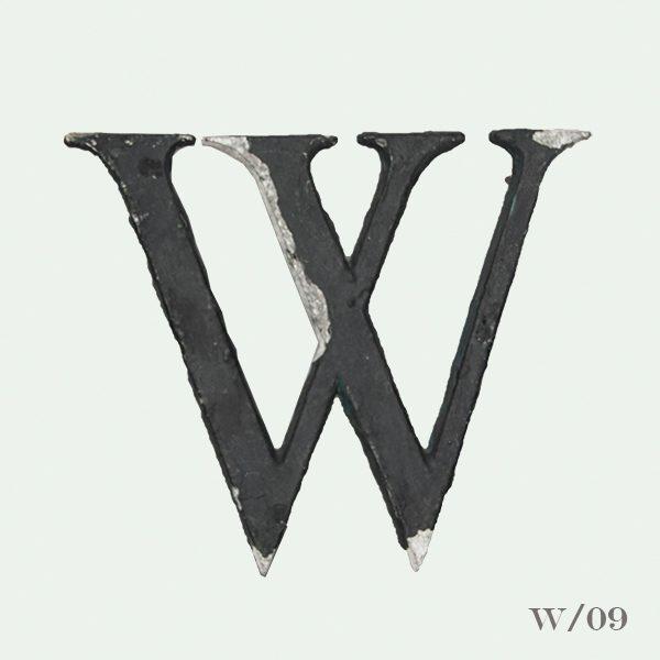 Vintage Reclaimed Black Metal Letter W