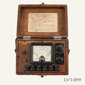 Vintage Ammeter in wooden case