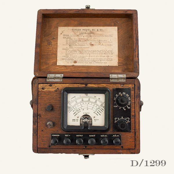 Vintage Ammeter in wooden case