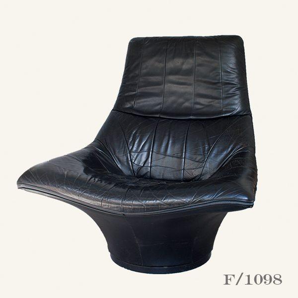 Vintage Mantis Black Leather Swivel Chair