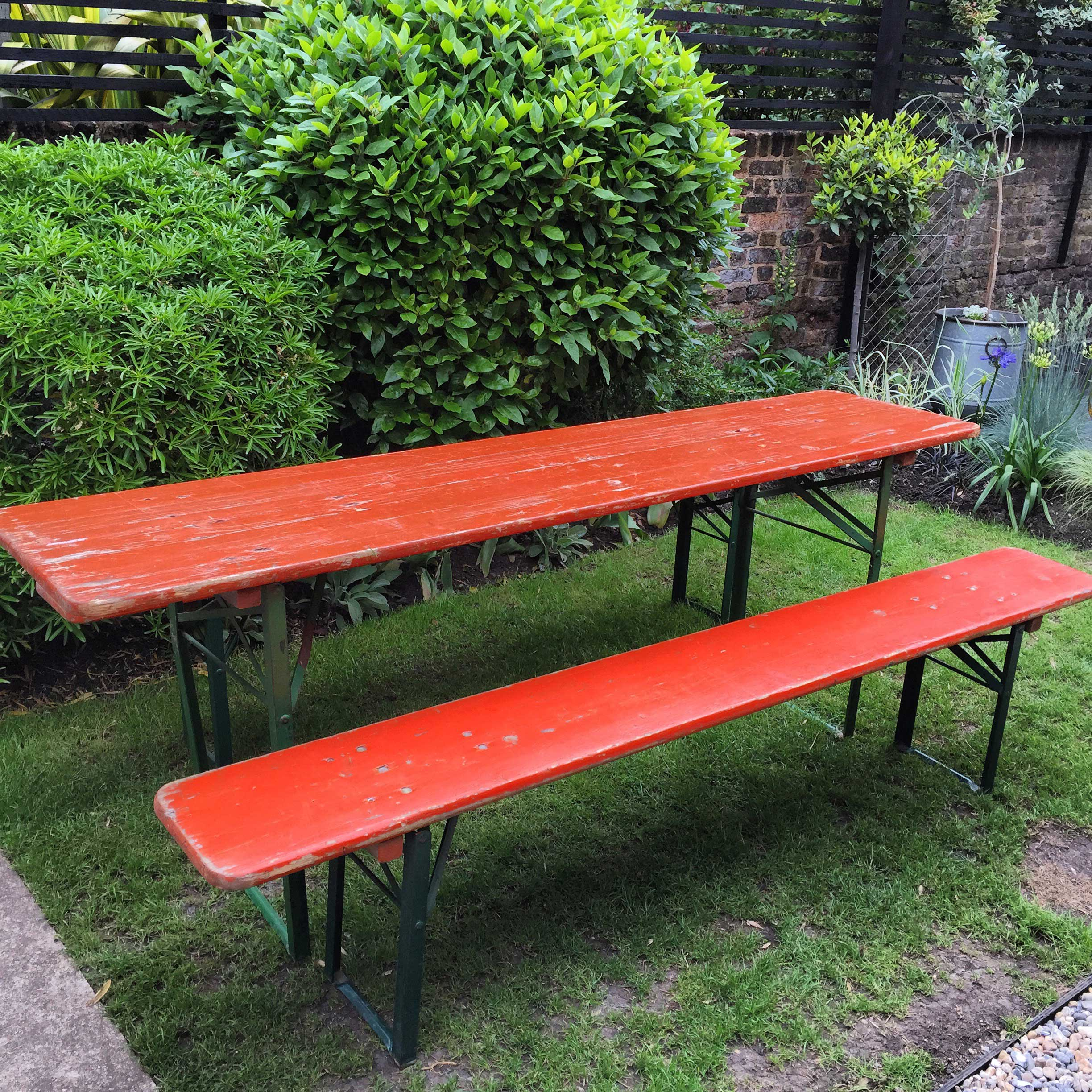Excellent Vintage Beer Table And Bench Set Evergreenethics Interior Chair Design Evergreenethicsorg