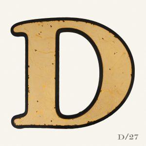 vintage reclaimed gold letter D