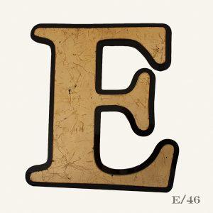 vintage reclaimed gold letter E