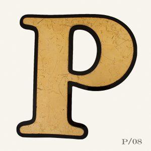 vintage reclaimed gold letter P