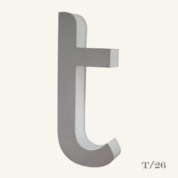 reclaimed halo letter light T
