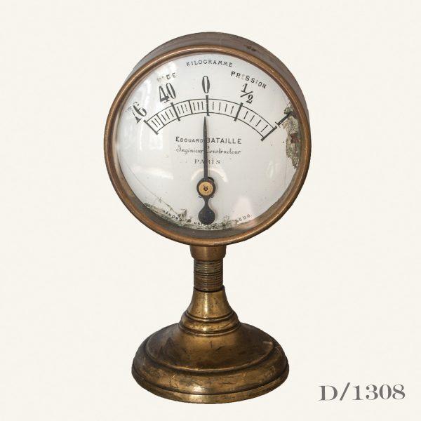 Vintage French Brass Pressure Gauge